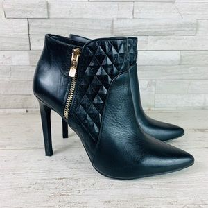 BCBG EUC Chameleon Black Leather Ankle Bootie 7.5